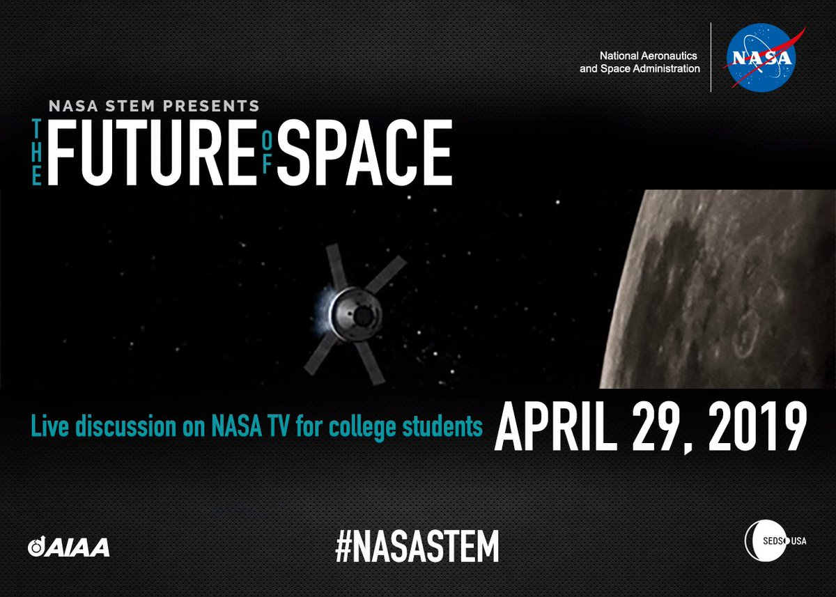 @NASAedu invites you to participate in a live event for college students discussing The Future of Space on NASA TV. This is an insightful discussion w/ NASA leadership to prepare you as we go Forward to the Moon…to stay. #NASASTEM #NASAinterns More info: nasa.gov/multimedia/nas…