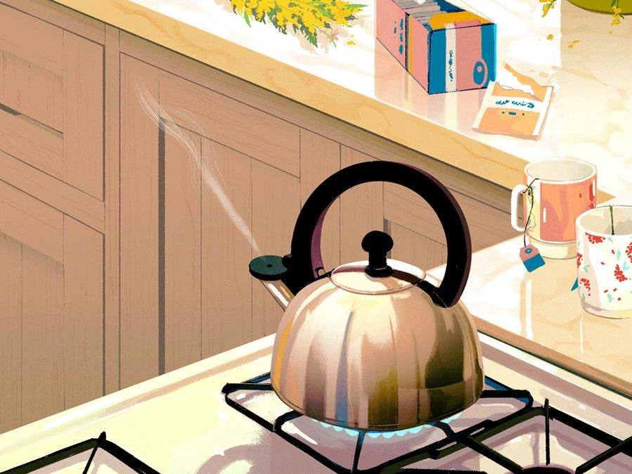 Who wants tea? #illustration #gif by Rebecca Mock