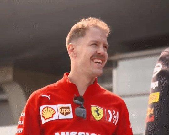 A smiling Sebastian Vettel, last weekend in Shanghai 😊😄  #ChineseGP 🇨🇳 #Seb5 #F1