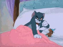 What is Monday? Even if you are tired... Get along with the mouse. ♡*̣̩⋆̩ I couldn't sleep until I told you how much I missed you.  Nighty night, my Love.❥·・ Sweet dreams... 🌚💜💙💛  #Monday #sweetdreams #TomandJerry #Loveit 🌟🎶🐱🐭💙🤗🥰🤭