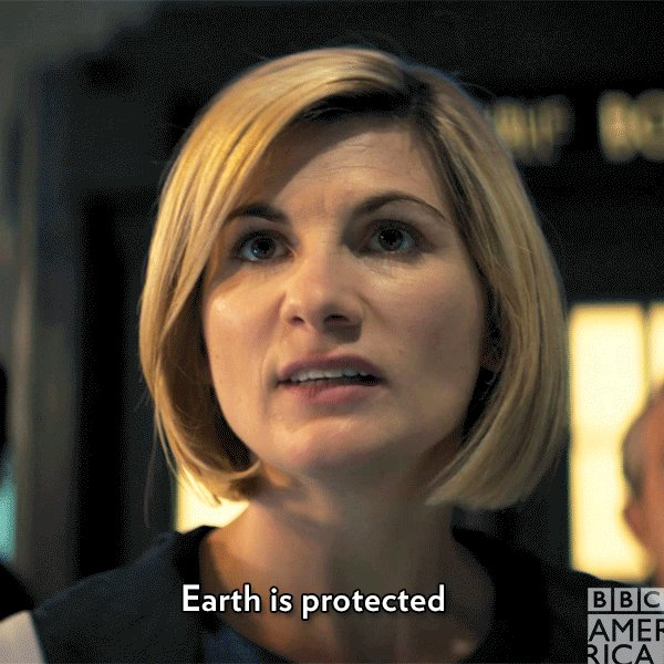 First she fell to Earth, now she defends it. Happy #EarthDay from the Doctor! #DoctorWho