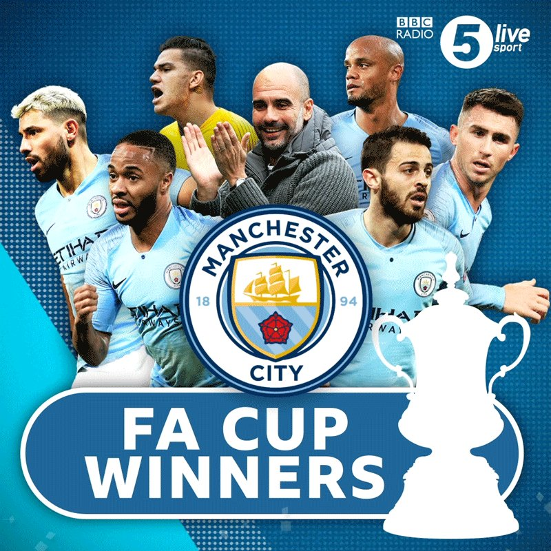 MANCHESTER CITY HAVE WON THE #FACUP!The first team to score six in an #FACupFinal since 1903 The first EVER English men's team to win the domestic treble.http://bbc.in/2VM3YBX#FACupfinal