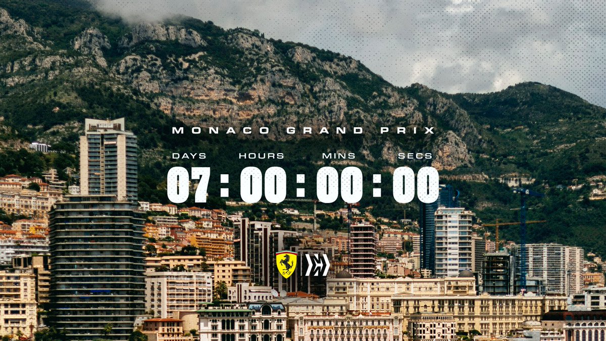 The countdown begins…  One week until we're racing on the streets of Monte Carlo 🇲🇨 #essereFerrari 🔴 #MonacoGP