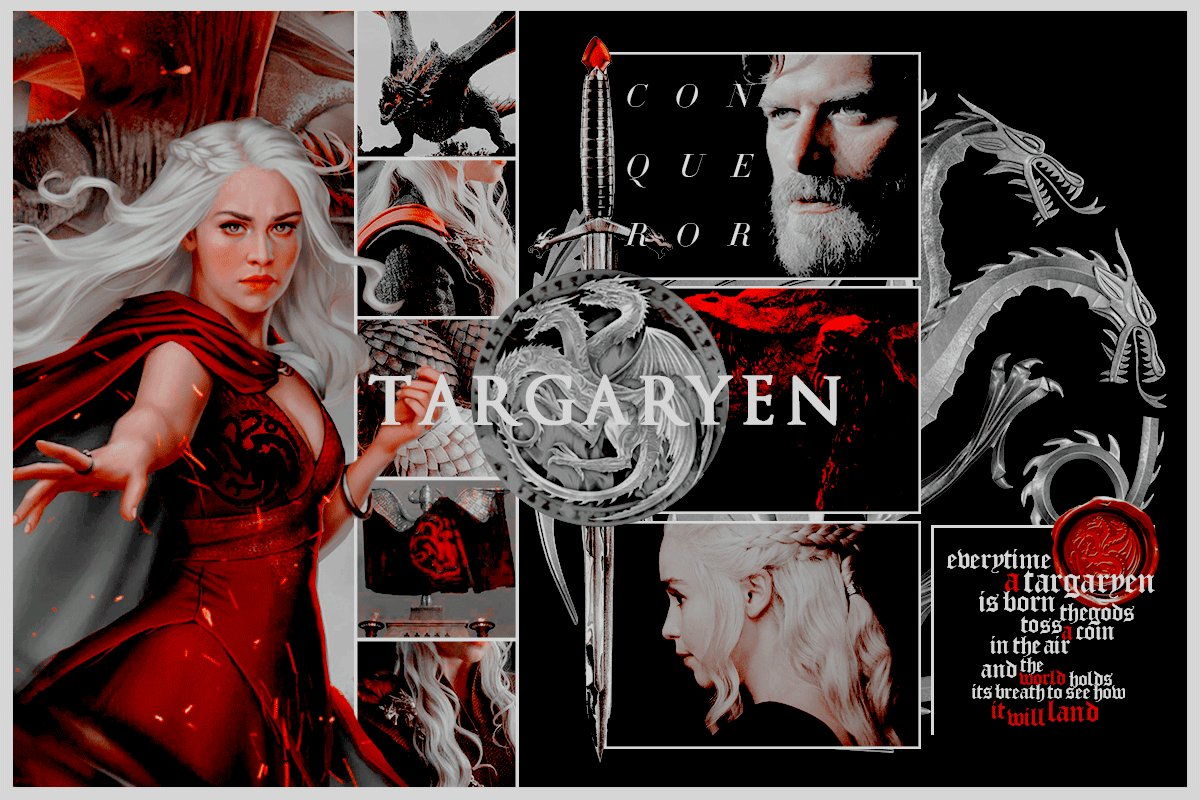 ⎰ 𝐙𝐀𝐋𝐃𝐑𝐈𝐙𝐄𝐒 •「❛❛I am 𝗗𝗮𝗲𝗻𝗲𝗿𝘆𝘀 Stormborn of House 𝗧𝗮𝗿𝗴𝗮𝗿𝘆𝗲𝗻, of the blood of 𝘼𝙚𝙜𝙤𝙣 𝙩𝙝𝙚 𝘾𝙤𝙣𝙦𝙪𝙚𝙧𝙤𝙧 and of old 𝗩𝗮𝗹𝘆𝗿𝗶𝗮 before him. I am the 𝖉𝖗𝖆𝖌𝖔𝖓'𝖘 daughter, and I swear to you, these men will die screaming.❜❜」 · •