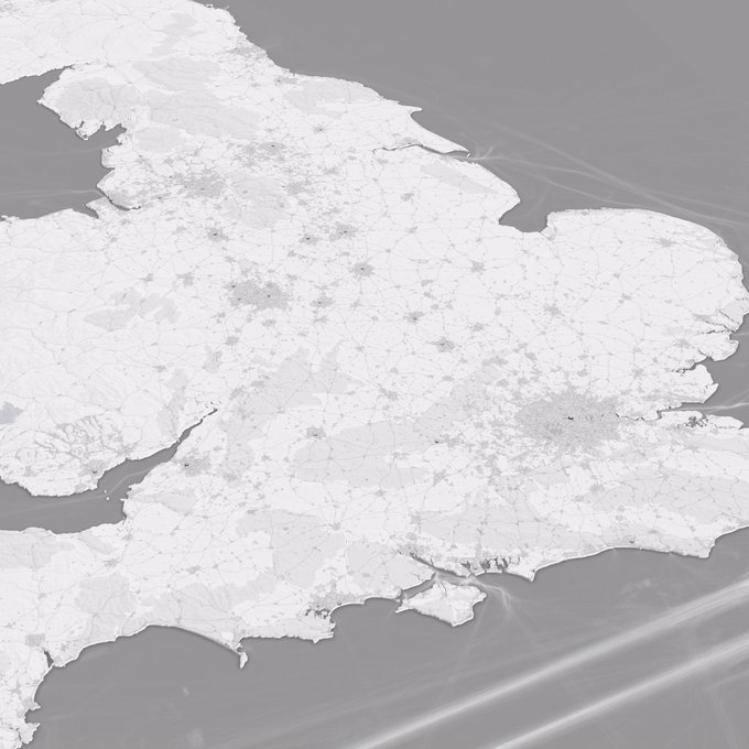 Love all the monochrome mapping on twitter based on @pinakographos competition - here is my tilt on it in animated form. AO drive time mountains for populated cities/town in the UK #dataviz #map