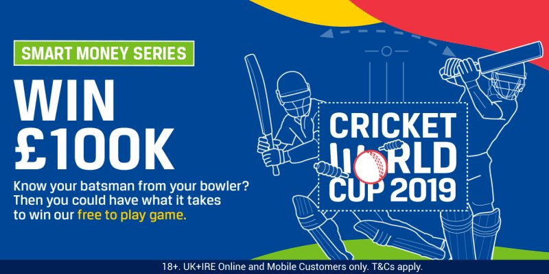 The Cricket World Cup begins on Thursday and the Smart Money Series is back! 🏏  ✅ Free to enter 🤔 10 questions 💰 100k prize fund  Play: http://corl.me/CricketSMS