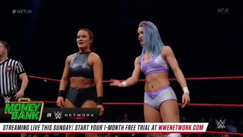 So the match is @XiaBrooksideWWE vs. @Kelly_WP, but @JinnyCouture is out here... WHY? #NXTUK