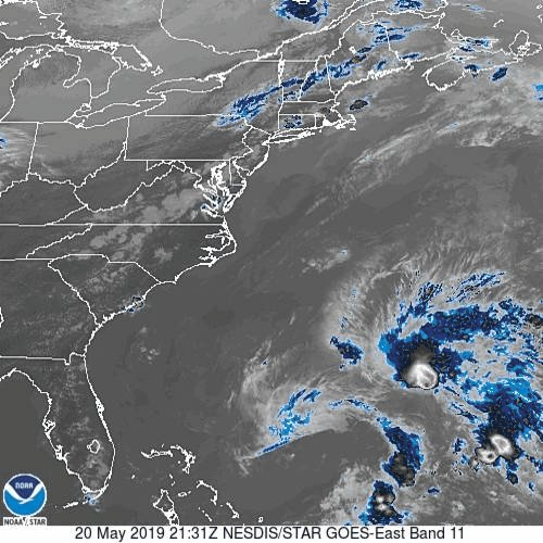 It won't stick around long, but the first named storm of the 2019 Atlantic hurricane season is here.  Sub-tropical storm Andrea is a 40 mph storm between the Bahamas and Bermuda but should dissipate by Midweek.  http://nhc.noaa.gov