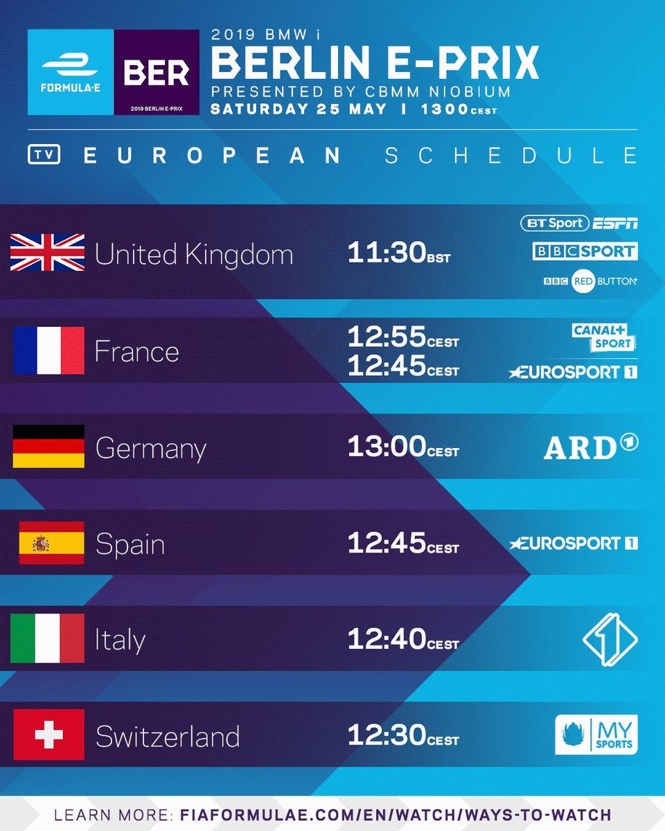 How to watch the 2019 #BerlinEPrix! Can't find your country? Click here >> https://www.fiaformulae.com/watch/ways-to-watch… #ABBFormulaE