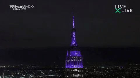 Empire State building changes their colors to purple for BTS https://forms.gle/zLd1j797Vvf6D6pw9…