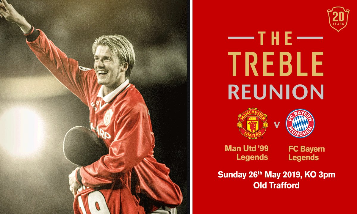 #ad Man Utd Legends including Beckham, Scholes, Butt and more are all set to play in the Treble Reunion match at Old Trafford on 26th May 2019. Tickets are still available but selling fast. Go to http://manutd.com/treblereunion or call 0161 868 8000 to buy now #MUFC #Treble99