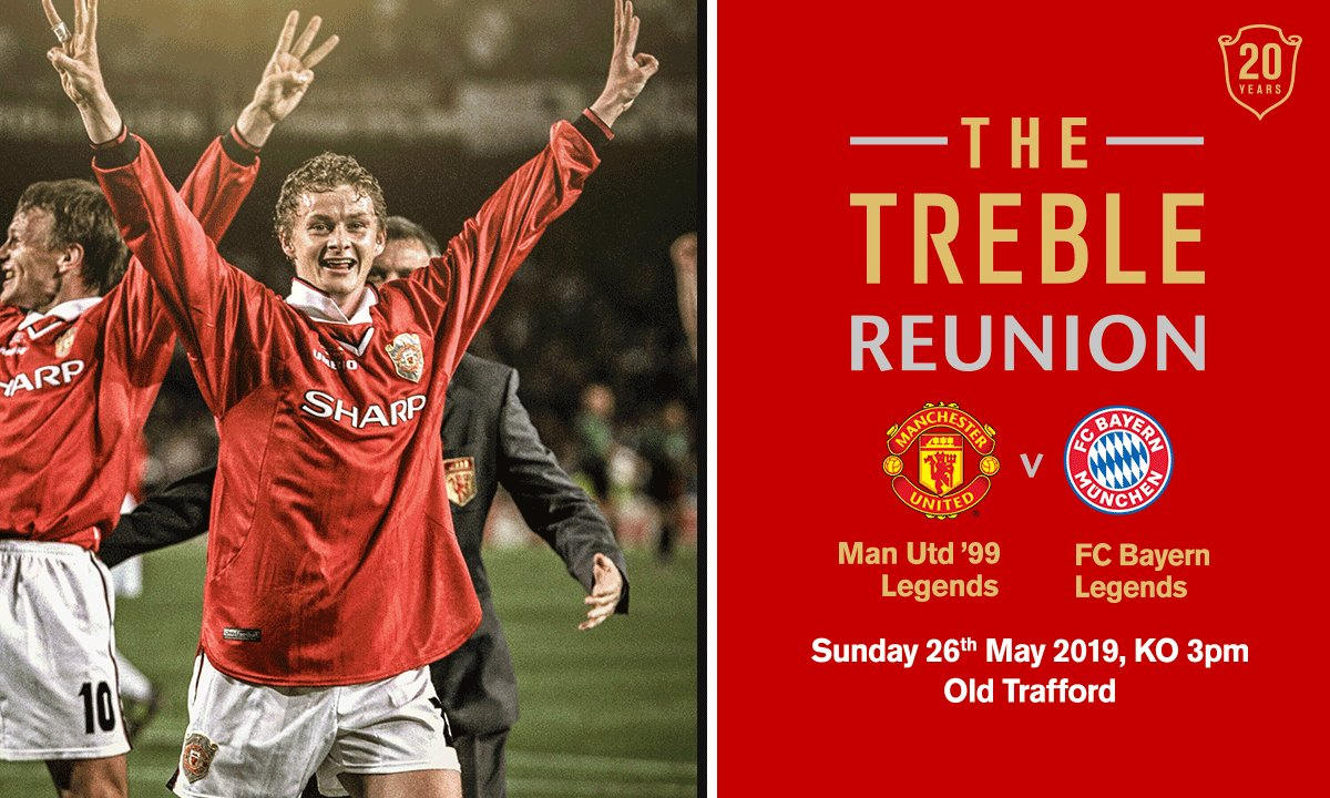 #ad See Ole Gunnar Solskjaer lace up his boots alongside Teddy Sheringham, Dwight Yorke and Andy Cole for the Treble Reunion match at Old Trafford on 26thMay 2019. Limited tickets are still available. Go to http://manutd.com/treblereunion or call 0161 868 8000 to buy now #Treble99