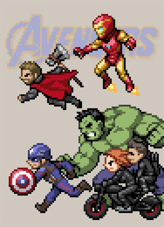 Avengers+α! たくさんネタを仕込みました。分かるかな!? #アベンジャーズ #Avengers #マーベル #MARVEL #ドット絵 #pixelart #ありがとうアベンジャーズ