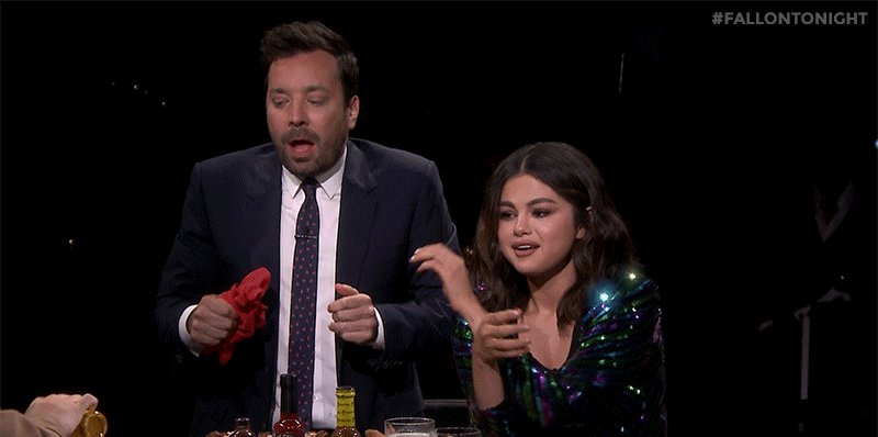 It's time for the last dab! @SelenaGomez and Jimmy try a sauce that is 400x as spicy as a jalapeño! https://youtu.be/N4kvtt2T_6Y  #FallonTonight
