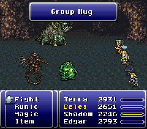 "Were halfway to the weekend. Here, let me heal you so you can last till Friday! 🌟💫✨ Starlet Summon, ""Group Hug"" - Final Fantasy VI"