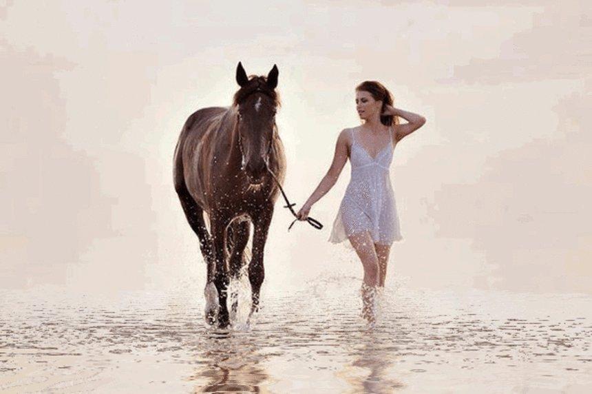 Анимация картинки девушка и лошади