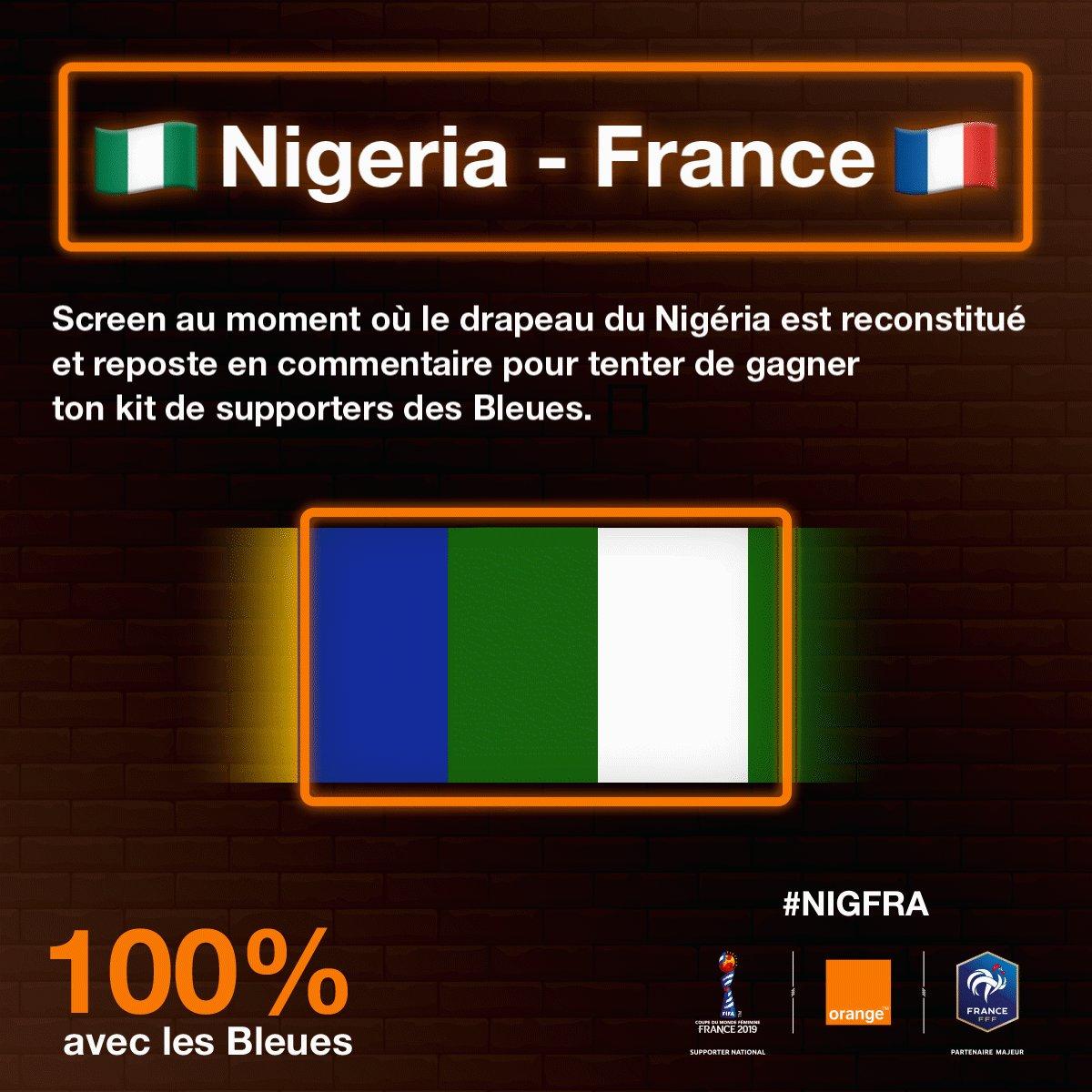 🇳🇬 #NIGFRA 🇫🇷 🙌 Envie de remporter tes places de matchs et ton kit de supporter des #Bleues pour soutenir l@equipedefrance ? 🛑 Stop le GIF au moment où le drapeau du Nigéria 🇳🇬 est affiché et reposte en commentaire 📸 🎰 Tirage au sort demain ! #OrangePasseurdEmotions