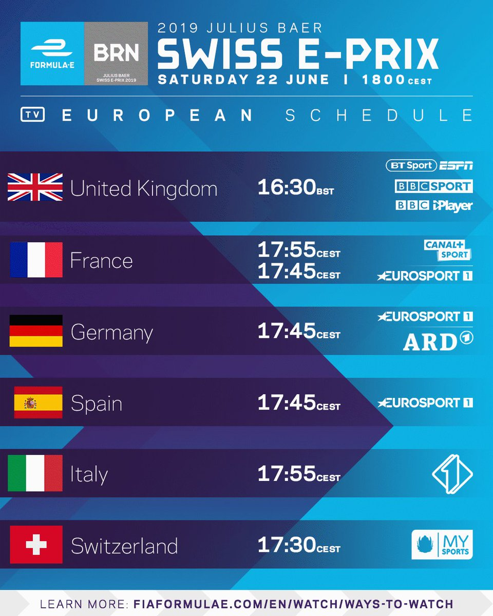 How to watch the 2019 @juliusbaer #SwissEPrix! 📺⚡️  Can't find your country? Tap this link now 👍 >>  https://www.fiaformulae.com/watch/ways-to-watch … #ABBFormulaE