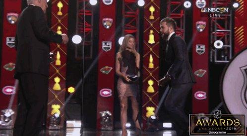 .@86Kucherov accepting the Hart Trophy from Alex Trebek, NBD. #NHLAwards