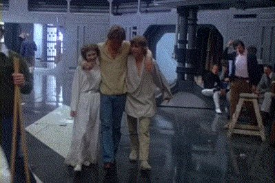 Carrie Fisher, Harrison Ford and @HamillHimself behind the scenes of Star Wars (1977)