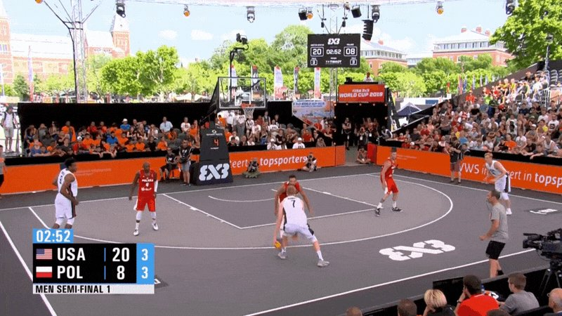 Hello @FIBA3x3, we'd like to place a reservation for four. Yes, it's for the #3x3WC finals.  FINAL: 🇺🇸 #USAB3x3 22, 🇵🇱 Poland 8  Deadly from deep in the semis! We roll into the gold medal game at 1:30 PM EDT.