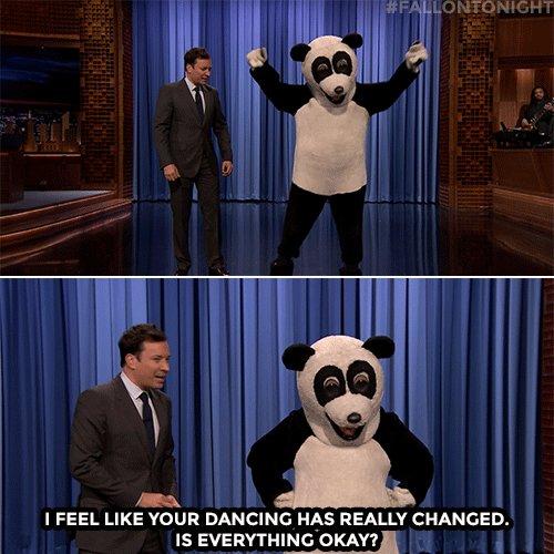 .@MileyCyrus crashes Jimmy's monologue as Hashtag the Panda! #FallonTo...