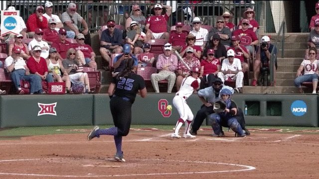 Nicole Pendley ain't ready to go home yet! She goes yard to put @OU_Softball on the board!