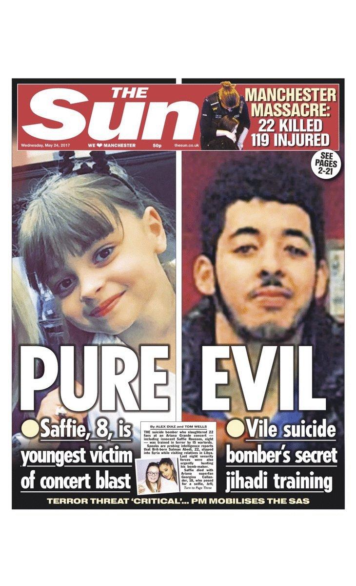Les unes de la presse britannique mercredi #Manchester #AFP