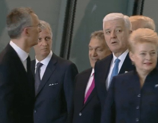 Slo-mo: Trump appears to push aside/shove another NATO leader to get to the front of the group.