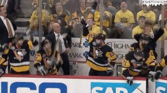 Bench reaction after winning Game 7. Priceless.  #LetsGoPens https://t...