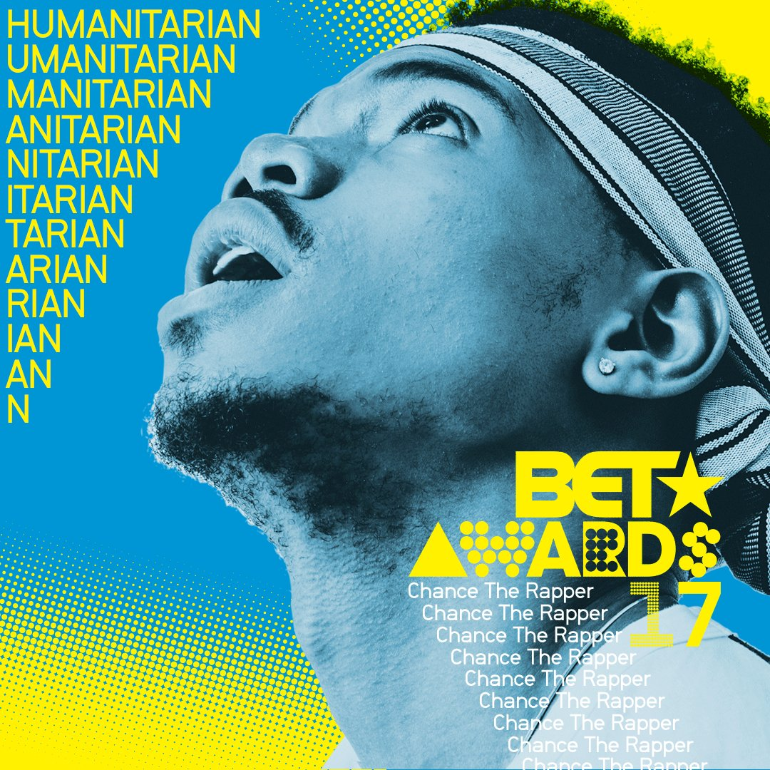 The 2017 #BETAwards recipient for Humanitarian Award is @ChanceTheRapper!