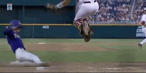 SAFE!  Kramer Robertson's great slide makes it 6-2 LSU in the 9th. #CW...