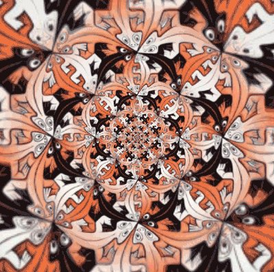 Its MC Escher's birthday, and apparently #worldtessellationday is a thing, so here is a gif to stare at for eternity https://t.co/qinyB0RBcS