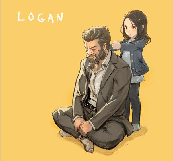 父の日っぽいLOGANらくがき。 ちょっと不器用な肩たたき。 #LOGAN