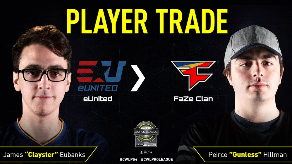 PLAYER TRADE: @FaZeClan have traded @Clayster to @eUnitedgg for @i2Gunless.