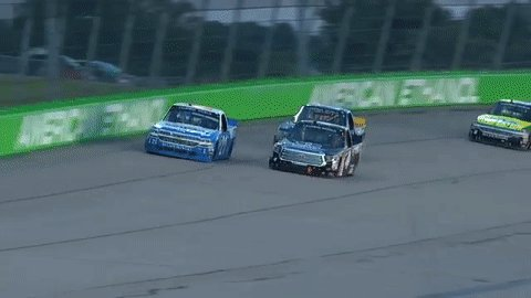 Fresh tires prevail as @JohnnySauter soars past @CBellRacing for the l...
