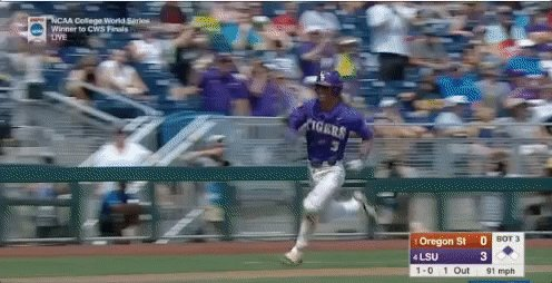 ANOTHER ONE! @LSUbaseball continue to roll as @KramerR3 give the Tiger...