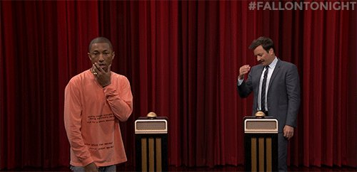 .@Pharrell Williams' winning streak must feel pretty good! #FallonToni...