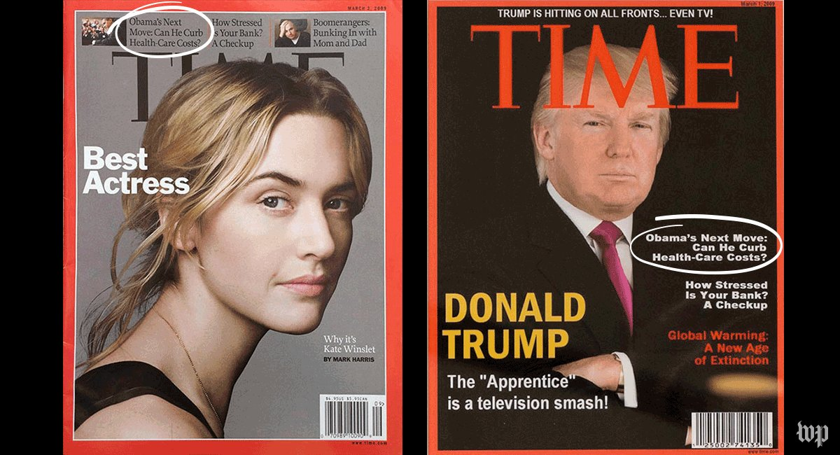 A Time Magazine with Trump on the cover hangs in his golf clubs. It's fake. https://t.co/GbabQP5hXQ