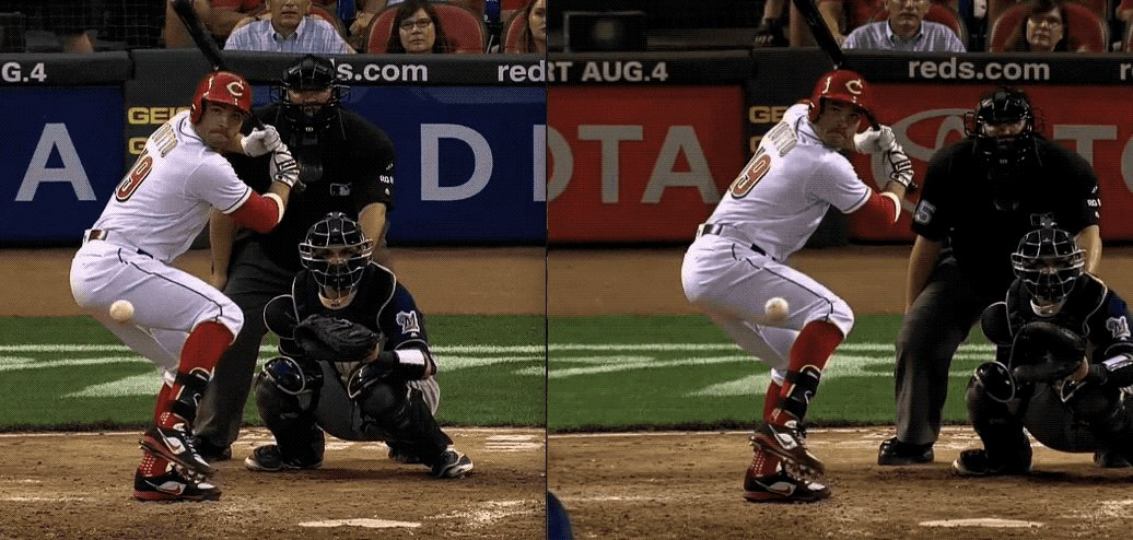 Votto HR #22 in vs HR #23 out. Both 94mph.