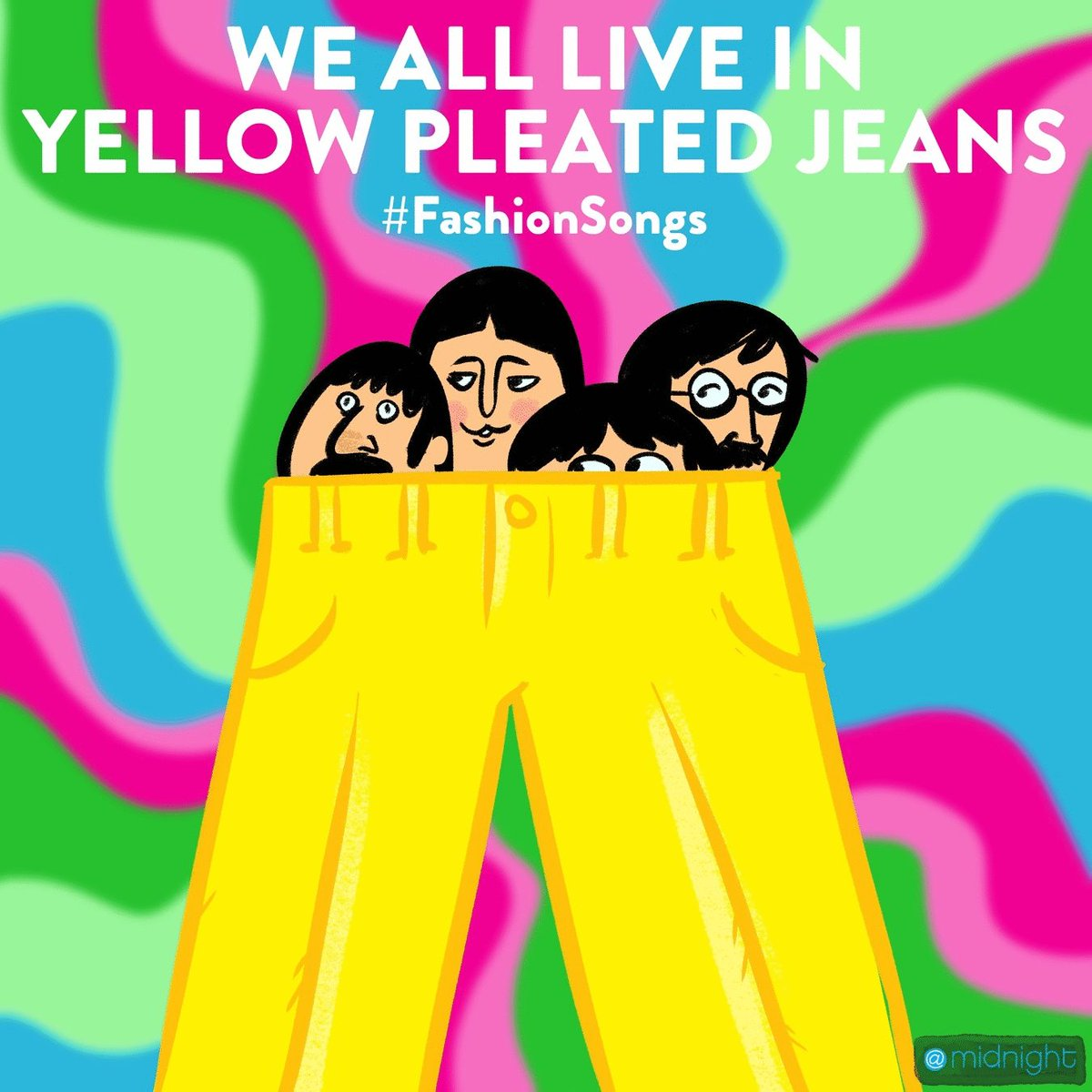We All Live in Yellow Pleated Jeans #FashionSongs @midnight https://t....
