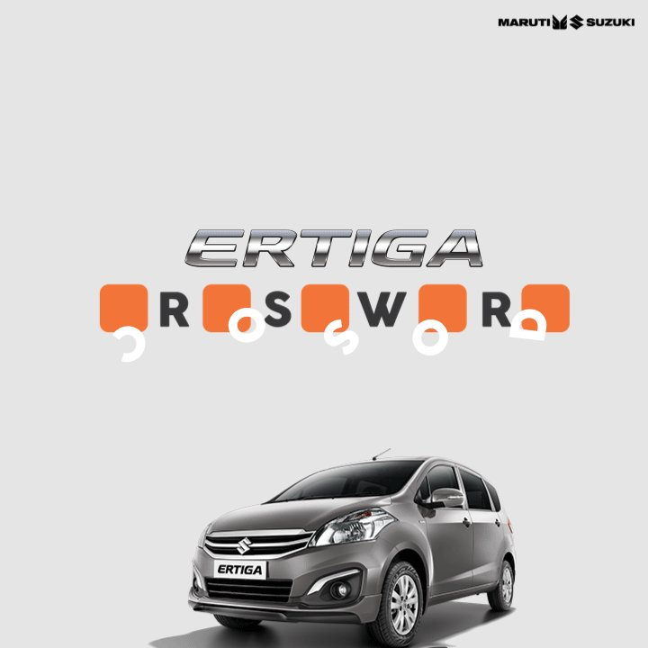Stuck in traffic? Throw out boredom & solve this crossword with Maruti Suzuki Ertiga. Reply with your answers! Hint: https://t.co/lBtXbRh30G https://t.co/rUVtRF7LUi