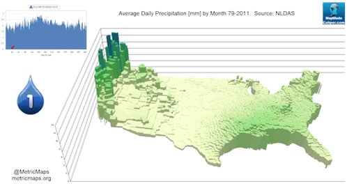 Average annual precipitation in each county in the contiguous US https://t.co/xszn0t9naQ
