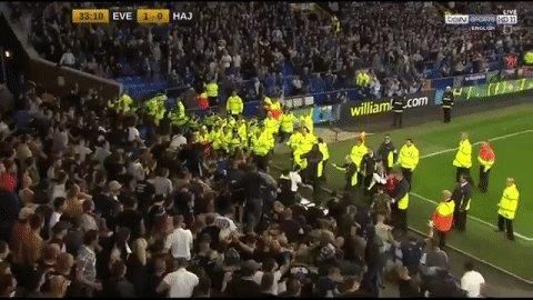 Trouble brewing at Goodison Park... The players have been escorted off...