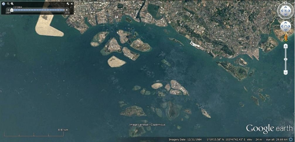 #Singapore harbor since 1984. Oil storage occupies much of the new lan...