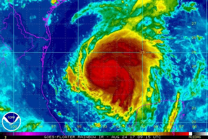 Hurricane Harvey Intensifies as It Roars Toward Texas