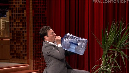 Just a little sip! 💦 #FallonTonight