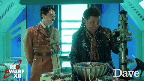 Tfw you've got a new best friend #RedDwarfXII @RyanGage @CCfunkandsoul...