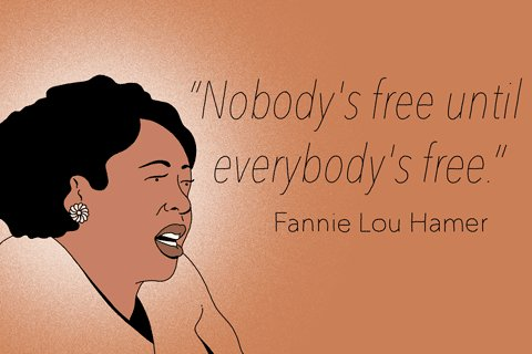 """Nobody's free until everybody's free."" #FannieLouHamer #FannieLou100   #eMpowerMonday #TheEast #EastUnited #DSTCTT #DST1913"