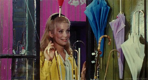 . Happy birthday Catherine Deneuve. Here in Jacques Demy\s The Umbrellas of Cherbourg...